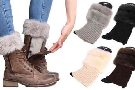 Groupon Goods Global GmbH - One, Two or Four Pairs of Crochet Faux Fur Knit Boot Toppers - Save 60%