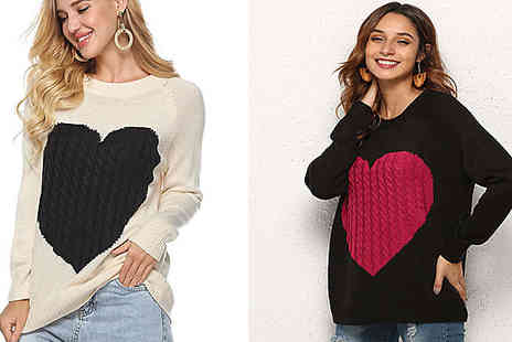 Aha Trading - Womens Heart Print Jumper Choose from 3 Colours - Save 80%
