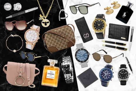 Brand Arena - Luxury mystery gift Gucci bag, Chanel perfume, Mont Blanc sunglasses, an Armani watch a Hot Diamond necklace and more - Save 0%