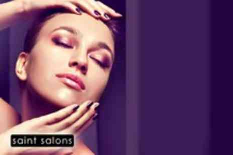 Saint Salons - Full manicure and pedicure including filing, buffing, cuticle work, massage & polish - Save 67%