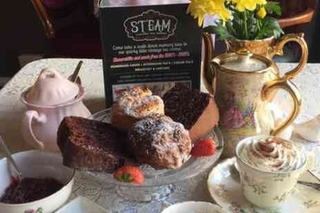 Steam Vintage Tea Room - Cream Tea with Cake for Two or Four - Save 23%