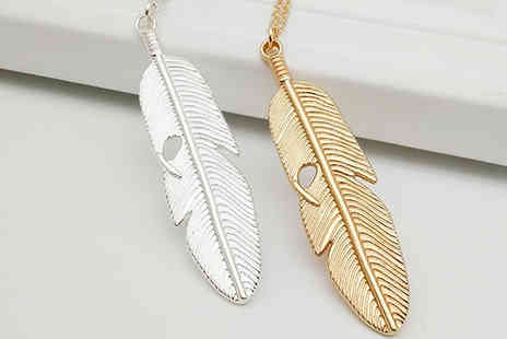 WhoGotThePlan - Gold or Silver Feather Pendant Necklace - Save 60%