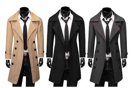 Blu Apparel - Mens smart slim fit winter coat in black, camel or grey choose from sizes S To XXL - Save 61%