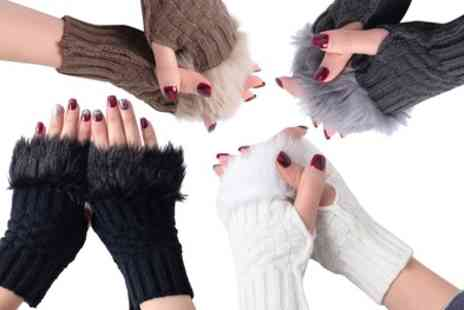Groupon Goods Global GmbH - Up to Four Pairs of Furry Fingerless Gloves - Save 0%