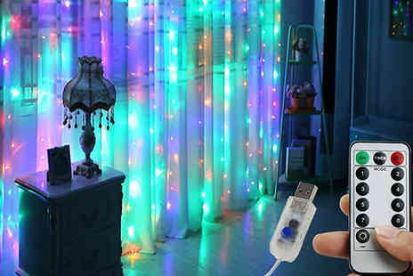 WhoGotThePlan - Remote Control Led Curtain Lights Choose from 3 Colours - Save 80%