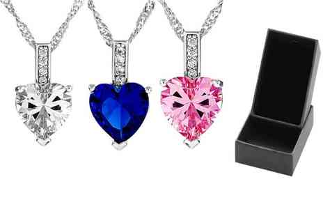 GameChanger Associates - Heart cut zircon necklace choose from three colours - Save 93%