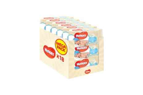 Groupon Goods Global GmbH - 18 Pack of Huggies Pure Baby Wipes 56 Wipes per Pack, 1008 Wipes Total - Save 0%