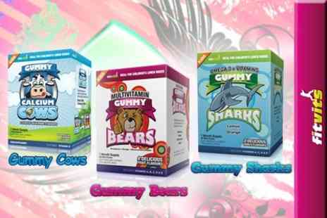 Fitvits - One Month Supply of Multivitamin Gummy Bears and Omega 3+ Vitamin Gummy Sharks for Kids - Save 67%