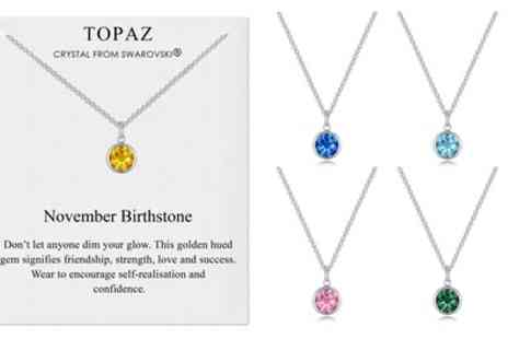 Groupon Goods Global GmbH - Philip Jones Birthstone Necklace with Crystals from Swarovski - Save 71%