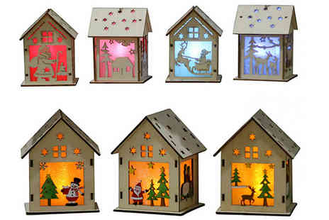 hey4beauty - 1, 2, 3 or 4 Pack of Led Wooden Hanging Christmas Decorations Choose from 2 Sizes and 4 Designs - Save 75%