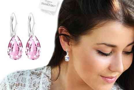 Groupon Goods Global GmbH - Ah Jewellery Sterling Silver Pear Earrings with Crystals from Swarovski - Save 90%