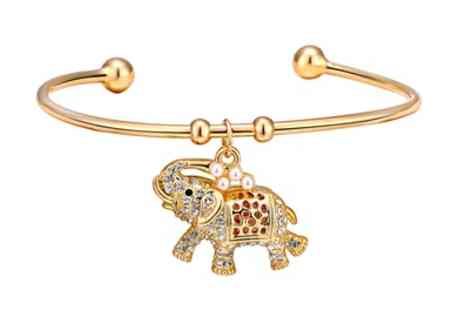 Groupon Goods Global GmbH - One or Two Philip Jones Elephant Cuff Bangles with Crystals from Swarovski - Save 68%