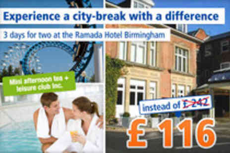 Ramada Hotel Birmingham - 2 Night stylish city break - Save 52%