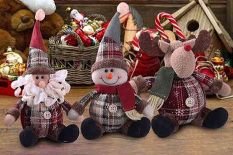 My Blu Fish - Plaid Christmas sitting decoration doll choose from Santa Claus, snowman or deer styles - Save 0%