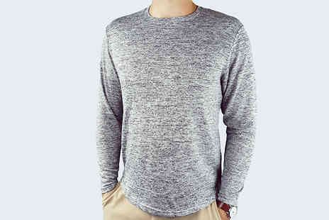 Blu Apparel - Mens Knitted Marl Top Choose from 4 Colours and 4 Sizes - Save 71%