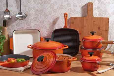 Groupon Goods Global GmbH - Cooks Professional Three, Five or Eight Piece Cast Iron Set in Choice of Colour - Save 51%