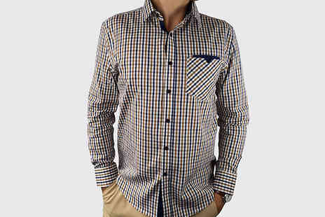 Blu Apparel - Isaac Long Sleeve Checked Shirt Choose from 4 Colours and 5 Sizes - Save 72%