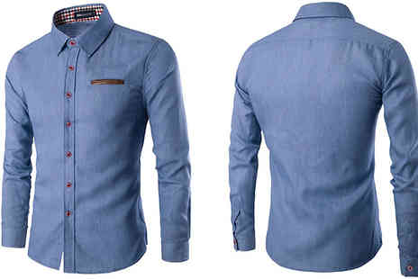 Blu Apparel - James Long Sleeve Denim Shirt Choose from 2 Colours and 5 Sizes - Save 43%