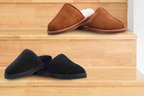 Redfoot - Pair of mens sheepskin mule slippers - Save 80%