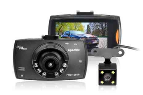 Groupon Goods Global GmbH - Porto Q Full HD Dual Front and Rear Dash Cam with Optional 16GB MSD Card - Save 70%