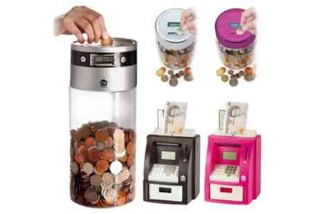 Groupon Goods Global GmbH - One or Two Digital Coin Counting Jars or ATM Banks - Save 0%