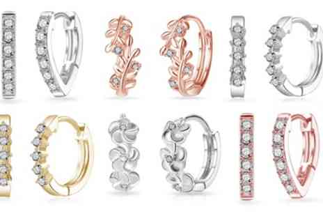 Groupon Goods Global GmbH - Philip Jones Hoop Earrings with Crystals from Swarovski - Save 73%