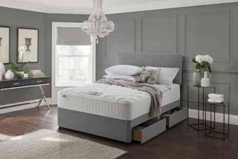 Dining Tables - Grey fabric divan bed set with a headboard and memory mattress choose from six sizes plus storage options - Save 82%
