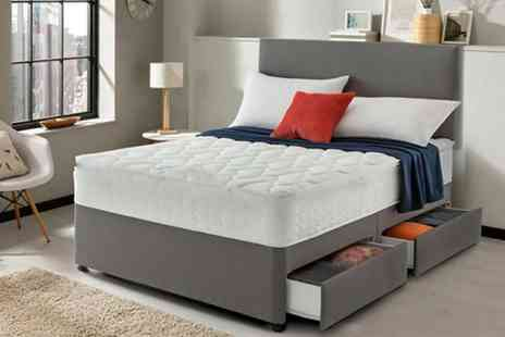 Dining Tables - Grey fabric divan bed with headboard and mattress - Save 86%