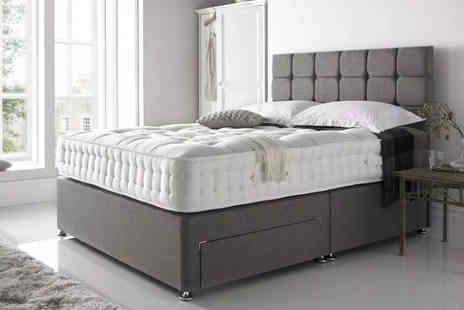 Beds Divans - Grey linen divan bed with mattress and diamante headboard - Save 0%
