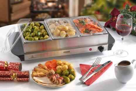 Groupon Goods Global GmbH - One or Two Cooks Professional Three or Four Section Buffet Servers and Warming Trays - Save 23%