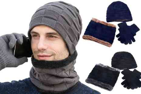 Groupon Goods Global GmbH - Beanie, Circle Scarf and Touchscreen Gloves Set - Save 67%
