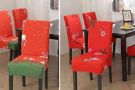 Domosecret - 1, 4 or 6 Christmas Dining Chair Covers Choose from 5 Designs - Save 80%