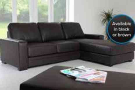 Furniture & Flooring - The sleek faux leather Paravel corner sofa from- Save 0%