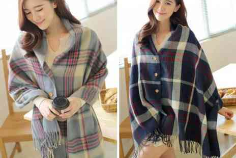 MBLogic - Checked button up shawl scarf - Save 73%