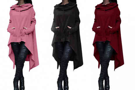 My Blu Fish - Oversized hooded batwing jumper Choose from 9 colours - Save 75%