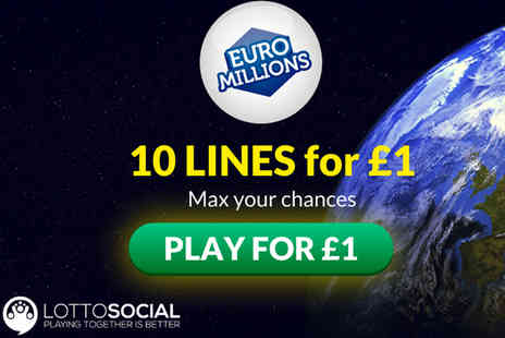 Lottosocial - 10 EuroMillions syndicate lines and seven instant win lottery games - Save 80%