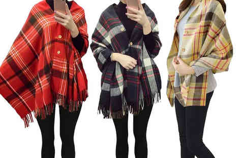Boni Caro - Button up tartan scarf choose your colour - Save 85%