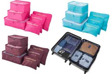 Groupon Goods Global GmbH - One, Two or Six Piece Luggage Organiser Bag Sets in Choice of Colour - Save 70%