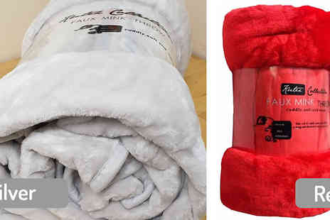 Direct Warehouse - Faux Fur Soft Blanket Choose from 2 Sizes and 10 Colours - Save 80%