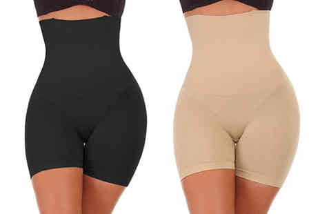Bonicaro - Pair of high waisted seamless compression shorts - Save 73%