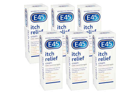 Trojan - Six 100g tubes of E45 itch relief cream - Save 34%