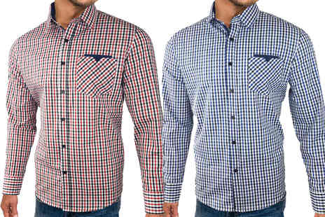 Blu Apparel - Mens cotton long sleeved checked shirt - Save 80%