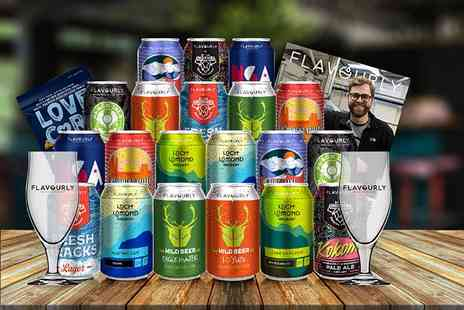 Flavourly - Craft beer hamper including twenty mystery beers, two tasting glasses, snack and magazine - Save 63%