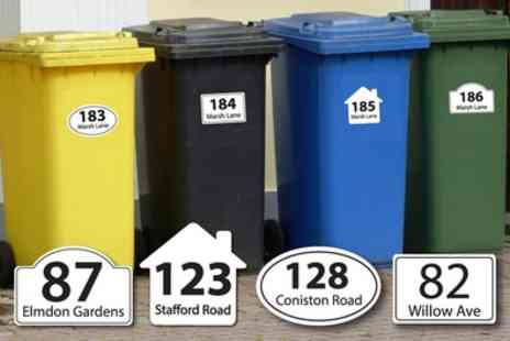 Decomatters - Six Personalised House Number and Street Name Wheelie Bin Stickers - Save 82%