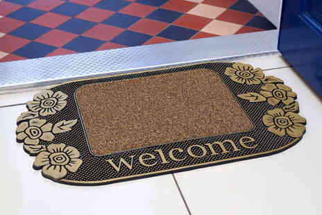 Direct Warehouse - Heavy duty rubber floral welcome door mat - Save 0%