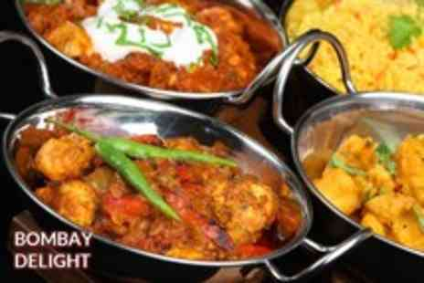 Bombay Delight - An Indian meal for 2 including starters, mains, rice or naan, ice cream & spirit & mixer - Save 54%