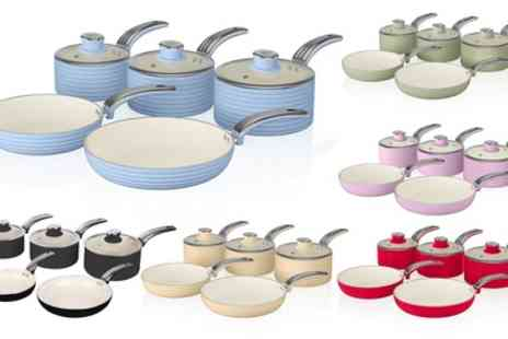 Groupon Goods Global GmbH - Two, Three or Five Piece Swan Retro Pan Set in Choice of Colour - Save 23%