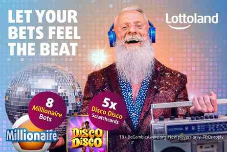 Lottoland - Eight millionaire bet lines and five Disco Disco scratchcards - Save 64%