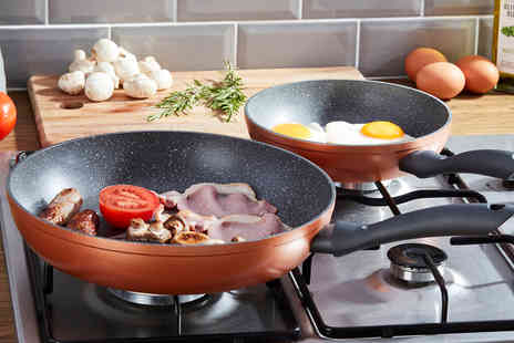 CJ Offers - Pair of copper and granite effect frying pans - Save 73%