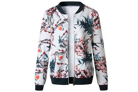 Blu Apparel - Ladies Floral Bomber Jacket choose from 3 Colours and 5 Sizes - Save 35%